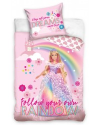 Barbie Princess Rainbow Castle Single Duvet Cover Set COTTON