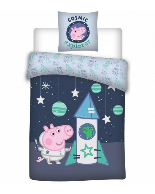 George Peppa Pig Rocket Bedding Toddler Reversible Duvet Cover Pillow Bed set