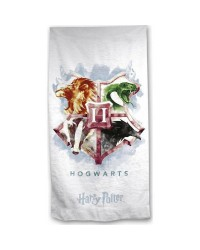 Harry Potter Hogwarts Crest White Beach Towel Swimming Holiday 70 x 140cm