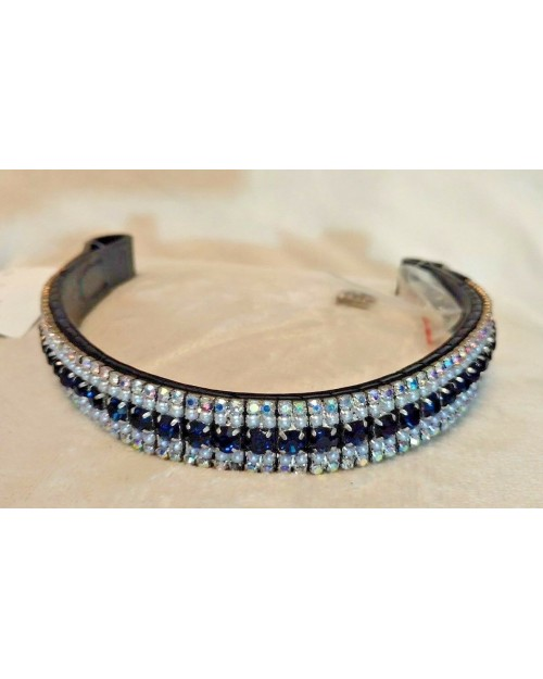 Silver pearl & Blue Crystal Browband Black or Brown Pony cob Full Horse (45)