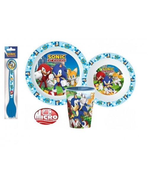 SONIC THE HEDGEHOG KIDS CHILDRENS 5 PC DINNER BREAKFAST SET PLATE BOWL CUP