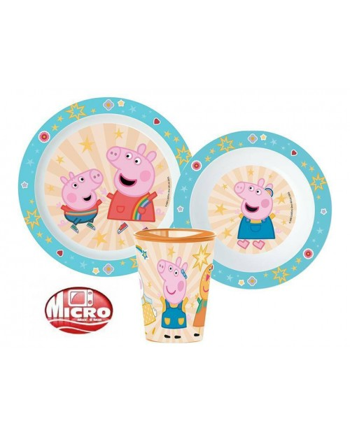 PEPPA PIG PLASTIC DINNER SET PLATE DISH & CUP 3 PIECES