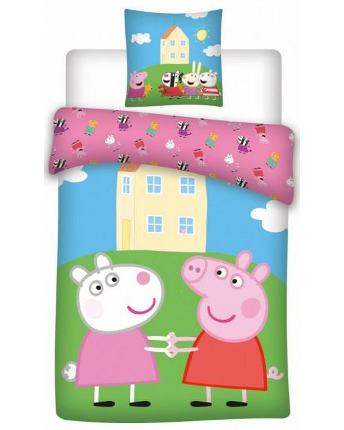 Peppa Pig house on hill Bedding Toddler Reversible Duvet Cover Pillow Bed set