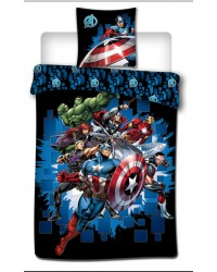 Avengers Bedding Single Cover & Pillow Duvet hulk ironman Thor Marvel Black
