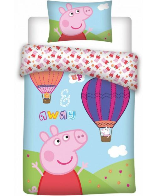 Peppa Pig Hot Air Balloon Bedding Toddler Duvet Cover Pillow Bed set