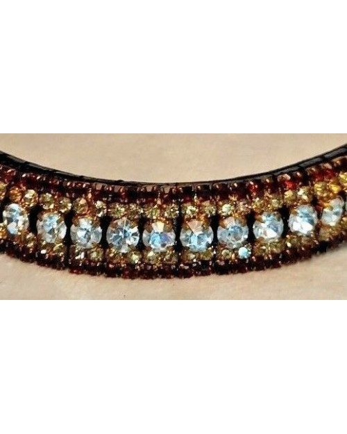 Brown, Gold & Silver 5 row Crystal & Leather Browband Black Pony (34)