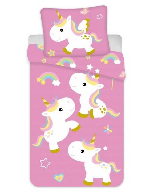 Pink Unicorn Toddler Bedding Set Reversible Pillow & Duvet cover Rainbow