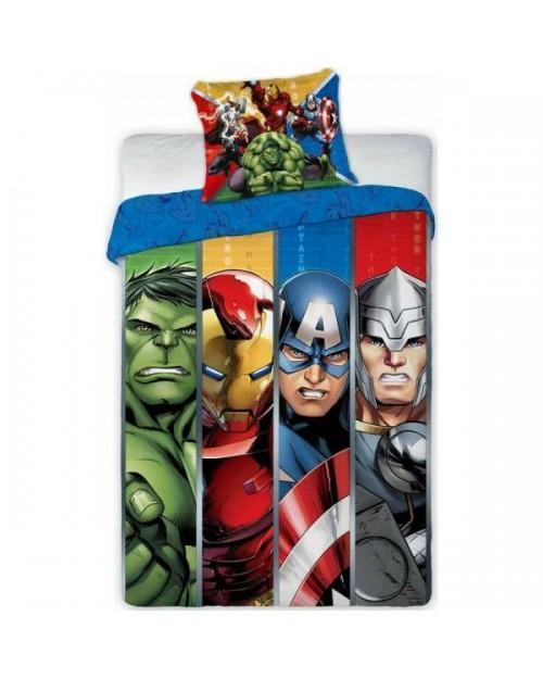 Avengers Marvel Bedding Single Cover & Pillow Duvet hulk ironman Thor stripe