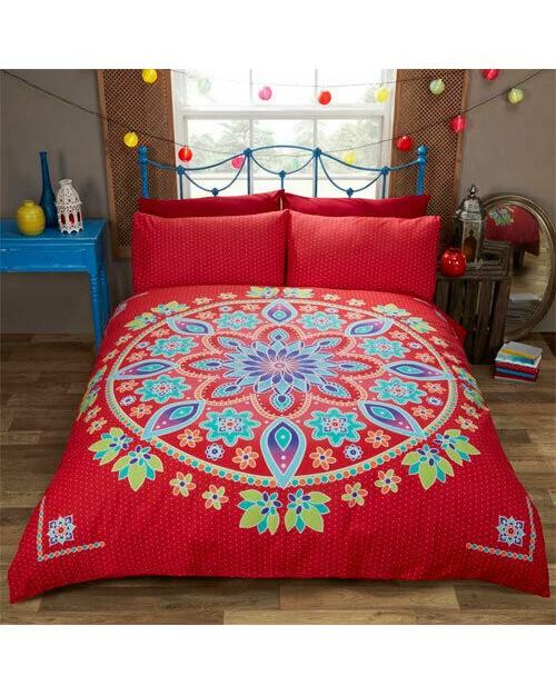 Bohemian Red Mandala Single bedding duvet set Duvet cover and pillow case