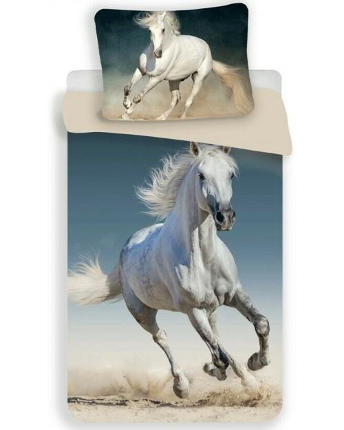 White Grey Horse Pony bed Set Single Bedding set 100% Cotton continental size