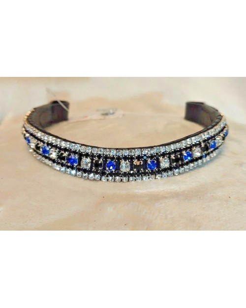 Blue & White 5 Row Crystal Browband Black or Brown Pony cob Full Horse (62)