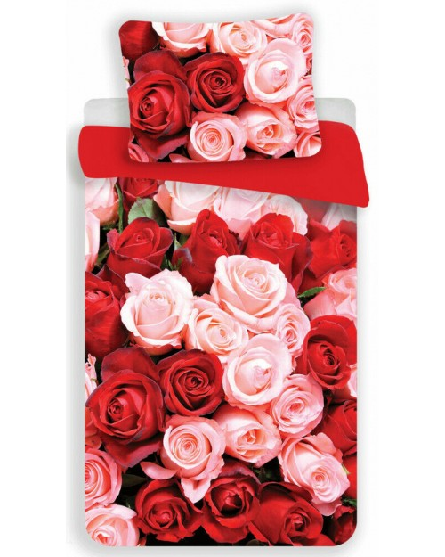 Stunning Red & Pink Roses Bedding Set Single bed cover Bed linen