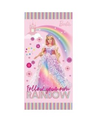 Barbie Beach Towel Pink Barbie Princess Rainbow Castle 140 x 70 100% Cotton
