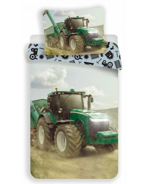 Green Tractor Bedding Single Reversible Duvet Cover Pillow Bed set