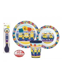 MINIONS KIDS CHILDRENS 5 PC DINNER DINING BREAKFAST SET PLATE BOWL CUP SPOON