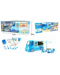 Seafood Truck Van Shop Toy Pretend Play Set With Sound & Light Kids Fun Toy Food