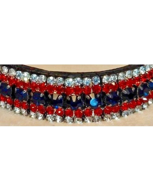 Silver Red & Blue 5 row Crystal Browband Black Brown Pony cob Full Horse (55)