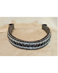 Black & White 5 Row Crystal Browband Black or Brown Pony cob Full Horse (61)