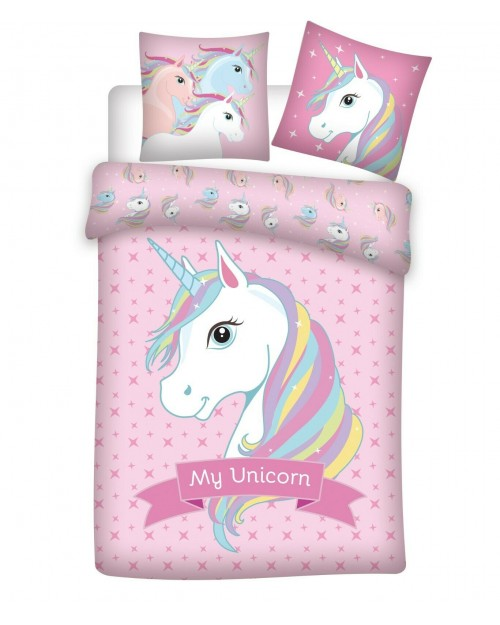 My Unicorn Bedding Single Reversible Cover & Pillow Duvet cover Pale Pink