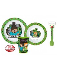 CHILDRENS TODDLERS MINECRAFT 5 PC DINNER BREAKFAST SET PLATE BOWL CUP SPOON FORK