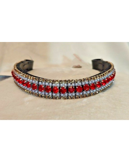 Red Gold & Pearl Crystal Browband Black or Brown Pony cob Full Horse (42)
