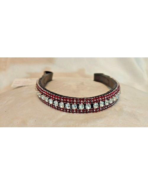 Red & Silver 5 row Crystal Browband Black Brown Pony cob Full Horse (36)