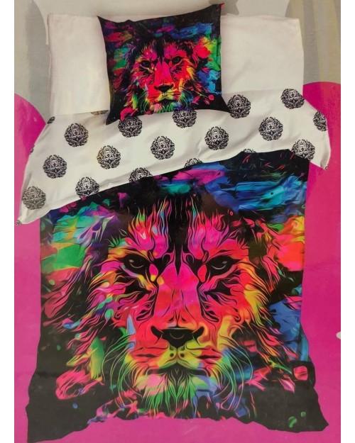 Lion Single Bedding Duvet Cover & Pillow case 100% cotton Multicolour Sunning