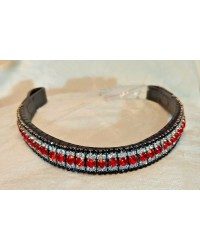 Black SIlver & red 5 row Crystal Browband Black Brown Pony cob Full Horse (35)