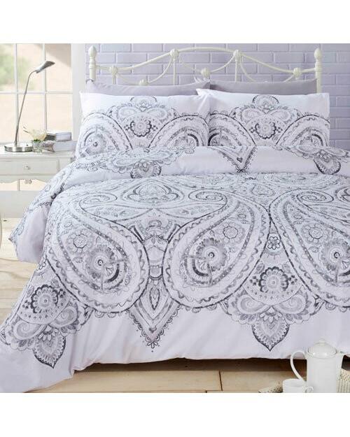 Soha Paisley Silver Duvet set Bedding Double duvet cover Pillow Case Bed set