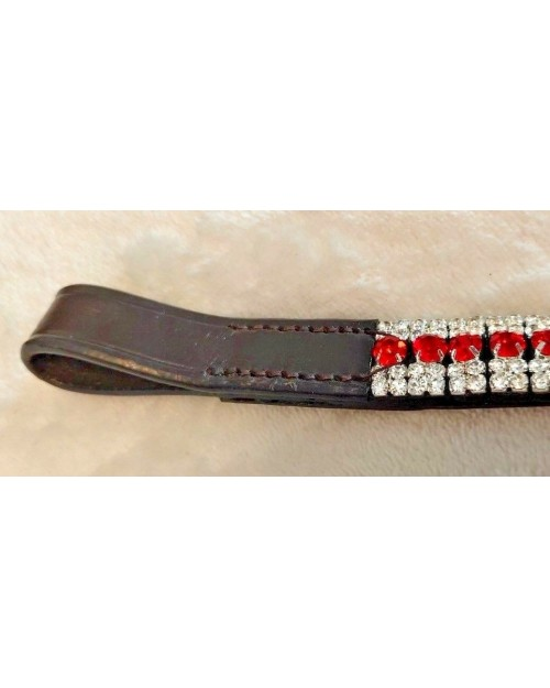 Silver & Red 5 Row Crystal Browband Black or Brown Pony cob Full Horse (15)