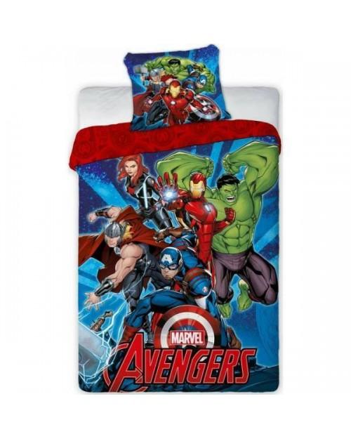 Avengers Marvel Bedding Single Cover & Pillow Duvet hulk ironman Thor Blue & red