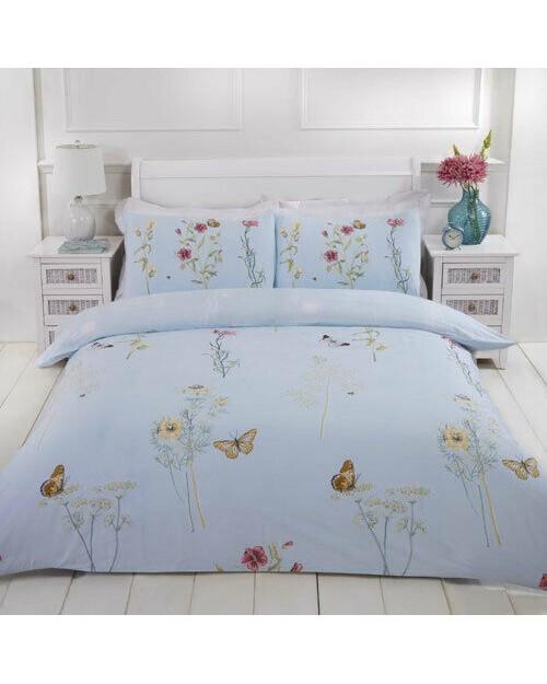 Laura Natural Floral Butterfly duckegg blue Single bedding duvet set Duvet cover