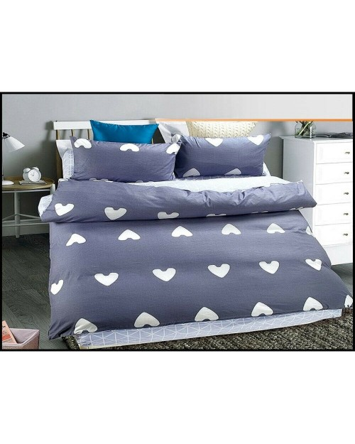 Hearts Blue & white bedding Single duvet cover & Pillow Case Bed set