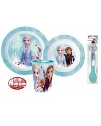 FROZEN KIDS TODDLERS 5 PC DINNER BREAKFAST SET PLATE BOWL CUP CUTLERY BLUE