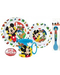MICKEY MOUSE CHILDRENS TODDLERS  5 PC DINNER BREAKFAST SET PLATE BOWL MUG NEW