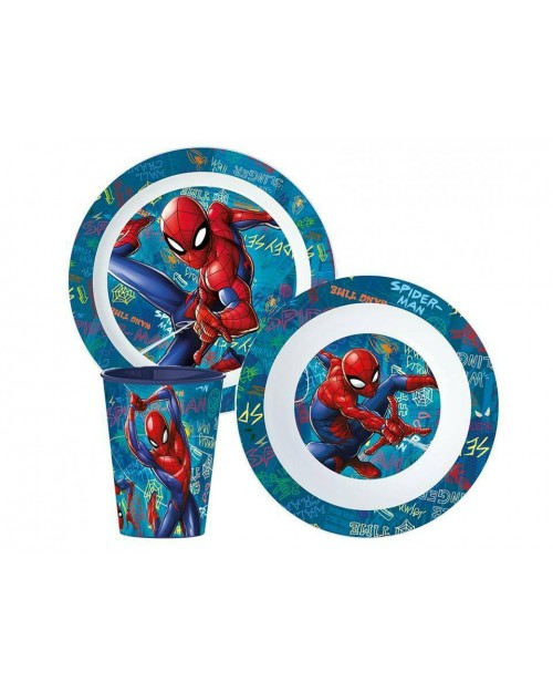 SPIDERMAN CHILDRENS KIDS TODDLERS 3 PC DINNER BREAKFAST SET PLATE BOWL CUP