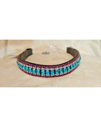 Pink silver Turquoise Crystal Browband Black Brown XP Pony cob Full Horse XF 30