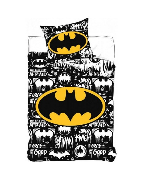 Batman Logo Black white & Yellow Single Reversible Cover & Pillow Duvet cover