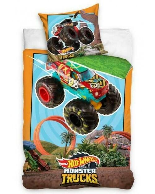 Hot Wheels Single Reversible Cover & Pillow Duvet cover Monster Trucks Cotton
