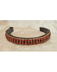 red & Gold Crystal & Leather Browband Black or Brown Pony cob Full  (18)