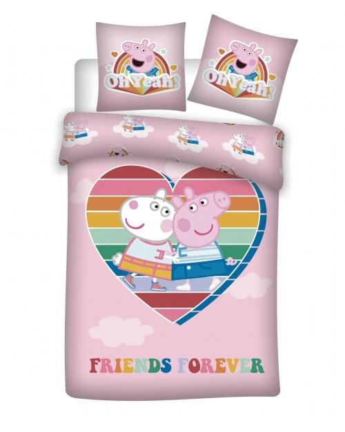 Peppa Pig PINK Bedding RAINBOW Single Duvet Cover Pillow Bed set