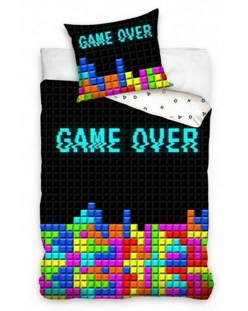 Game Over Tetris style Bedding Duvet Set Reversible Single bed cover