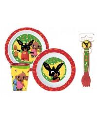 KIDS CHILDRENS BABY BING 5 PC DINNER DINING BREAKFAST SET PLATE BOWL CUP SPOON