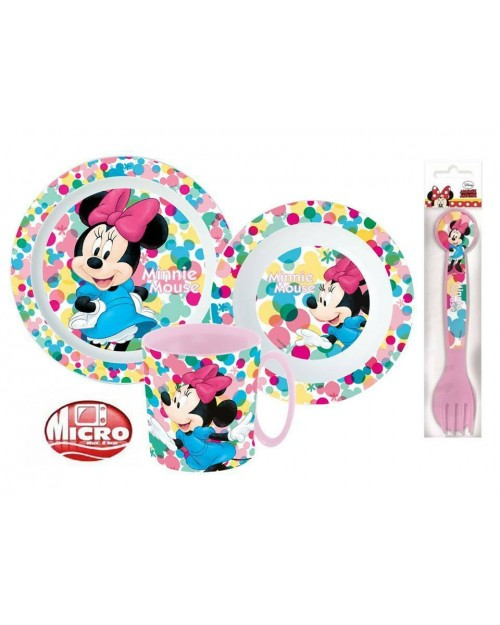MINNIE MOUSE CHILDRENS TODDLERS 5 PC DINNER BREAKFAST SET PLATE BOWL MUG SPOON