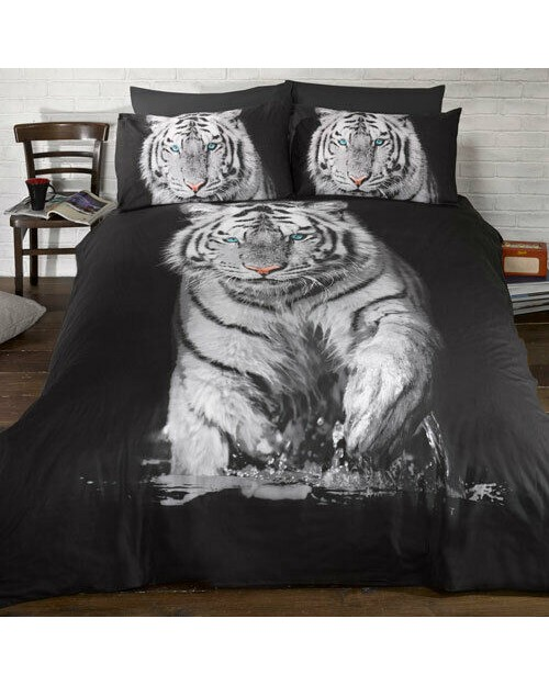 White Tiger Print Double Quilt cover bedding duvet set cover and pillow case