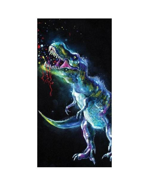 Dino Beach Towel Dinosaur T-Rex 140 x 70cm 100% Cotton Eyecatching Black Towel