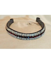 Double Silver & Claret 5 Row Crystal Browband Black Brown XP Pony cob Full XF 75