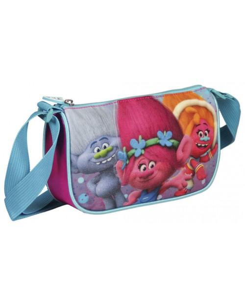 Trolls Handbag in Pink & Blue with shoulder strap childs bag 28 x 20 x 9cm