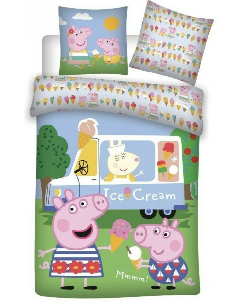 Peppa Pig Ice Cream Van Bedding Toddler Duvet Cover Pillow Bed set