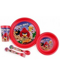 ANGRY BIRDS KIDS CHILDRENS 5 PC DINNER DINING BREAKFAST SET PLATE BOWL CUP